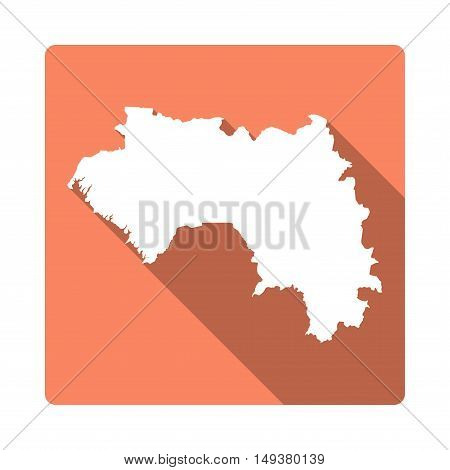 Vector Guinea Map Button. Long Shadow Style Guinea Map Square Icon Isolated On White Background. Fla