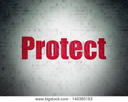 Safety concept: Painted red word Protect on Digital Data Paper background