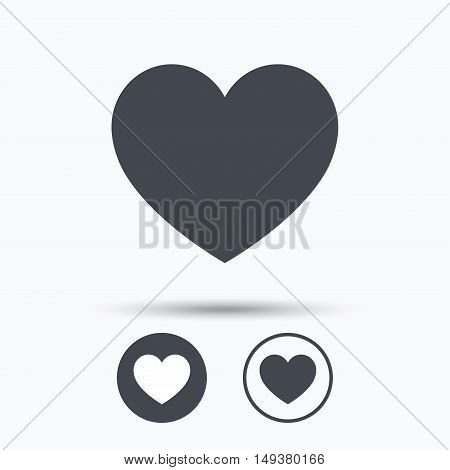 Heart icon. Romantic love symbol. Circle buttons with flat web icon on white background. Vector