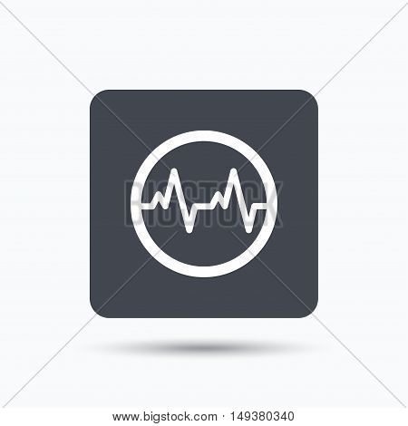 Heartbeat icon. Cardiology symbol. Medical pressure sign. Gray square button with flat web icon. Vector