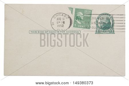 Postmarked and stamped 1952 postcard