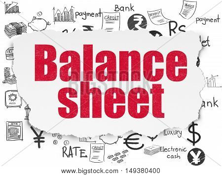 Currency concept: Painted red text Balance Sheet on Torn Paper background with  Hand Drawn Finance Icons