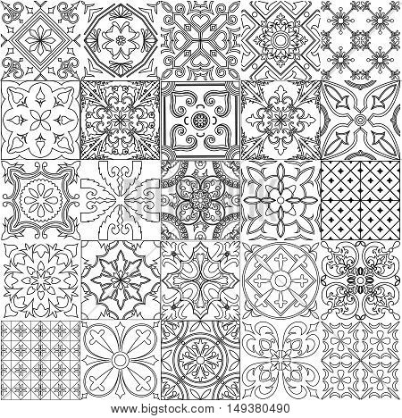 Big set of tiles background in black and white. For coloring pages backgrounds decoration for your design ceramic page fill and more.
