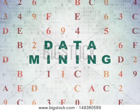 Information concept: Painted green text Data Mining on Digital Data Paper background with Hexadecimal Code