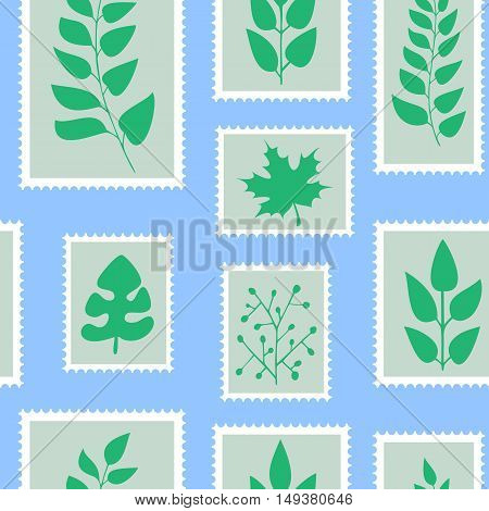 Seamless Pattern. Postal Stamps With Green Leaves