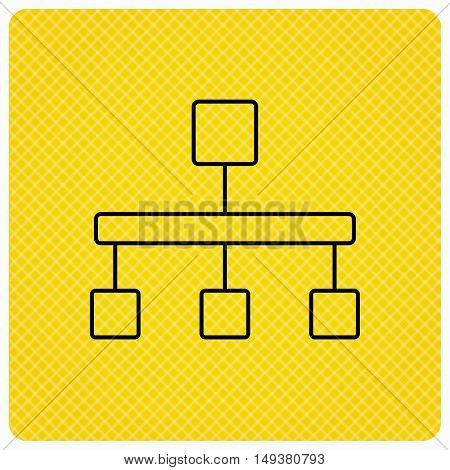 Hierarchy icon. Organization chart sign. Database symbol. Linear icon on orange background. Vector