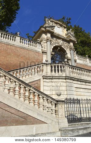 Rome Italy - September 12 2016 : Detail of an ornate staircase in the centre of Rome
