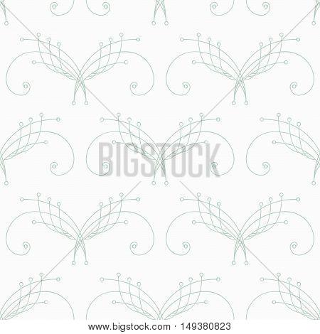 Elegant pastel green thin line damask seamless pattern on white. Thin line decoration. Damask pattern. Seamless abstract background. Infinity geometric pattern. Vector illustration.