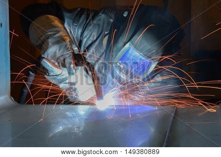 welder craftsman erecting technical steel spark trained fabricate