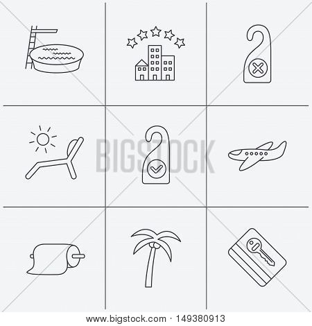 Hotel, swimming pool and beach deck chair icons. E-key, do not disturb and clean room linear signs. Paper towels, palm tree and airplane icons. Linear icons on white background. Vector