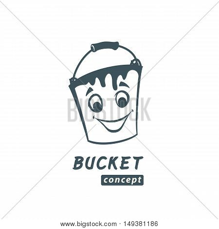 Paint bucket cartoon vector illustration. Repairs of apartments logo concept.