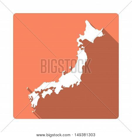 Vector Japan Map Button. Long Shadow Style Japan Map Square Icon Isolated On White Background. Flat