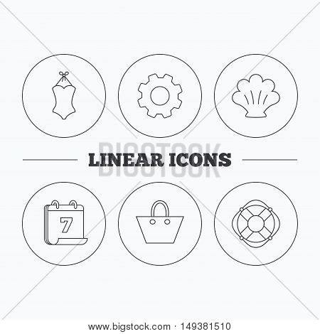 Ladies handbag, shell and swimsuit icons. Lifebuoy linear sign. Flat cogwheel and calendar symbols. Linear icons in circle buttons. Vector