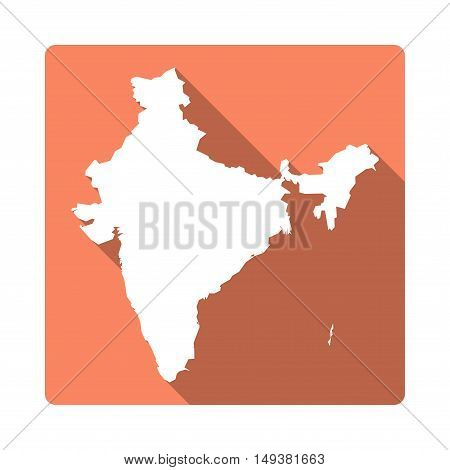 Vector India Map Button. Long Shadow Style India Map Square Icon Isolated On White Background. Flat