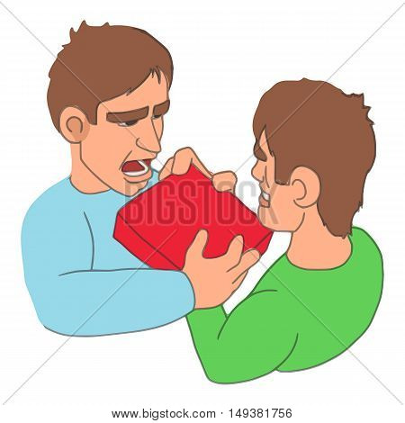 Men fighting over purchase icon in cartoon style isolated on white background. Buy symbol vector illustration
