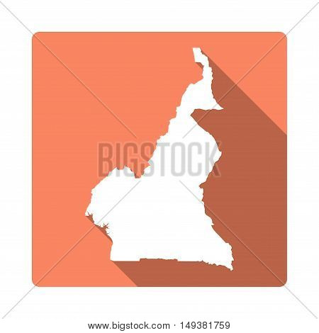 Vector Cameroon Map Button. Long Shadow Style Cameroon Map Square Icon Isolated On White Background.