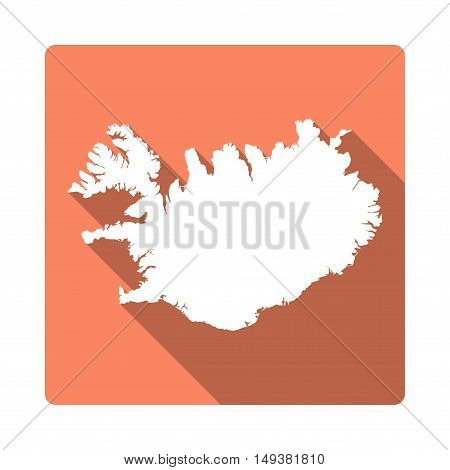 Vector Iceland Map Button. Long Shadow Style Iceland Map Square Icon Isolated On White Background. F