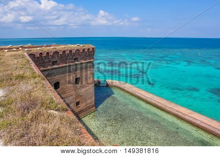 Aerial view of Fort Jefferson on the Caribbean turquoise sea of the Gulf of Mexico. Dry Tortugas National Park is 70 miles from Key West in Florida and can be reached by ferry or seaplane.
