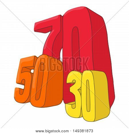 Fifty seventy and thirty discounts icon in cartoon style isolated on white background. Purchase symbol vector illustration