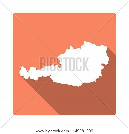 Vector Austria Map Button. Long Shadow Style Austria Map Square Icon Isolated On White Background. F