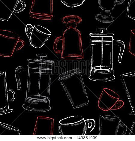 White and red hand drawn coffee cups pattern on black background vector ilustration
