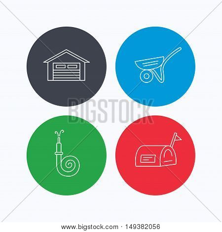 Mailbox, garage and fire hose icons. Trolley linear sign. Linear icons on colored buttons. Flat web symbols. Vector
