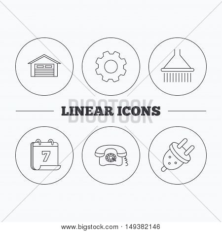 Retro phone, garage and electric plug icons. Shower linear sign. Flat cogwheel and calendar symbols. Linear icons in circle buttons. Vector