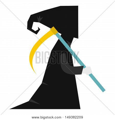 Death with scythe icon in flat style isolated on white background. Dead symbol vector illustration