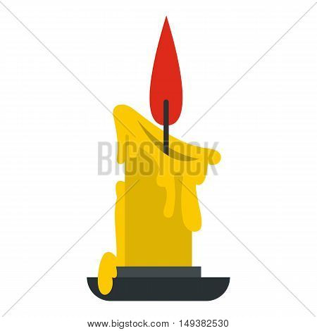 Melting candle icon in flat style isolated on white background. Light symbol vector illustration