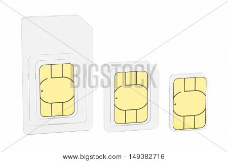 Mini micro nano sim cards 3D rendering isolated on white background