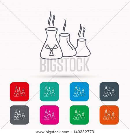 Industry building icon. Manufacturing sign. Chemical toxic production symbol. Linear icons in squares on white background. Flat web symbols. Vector