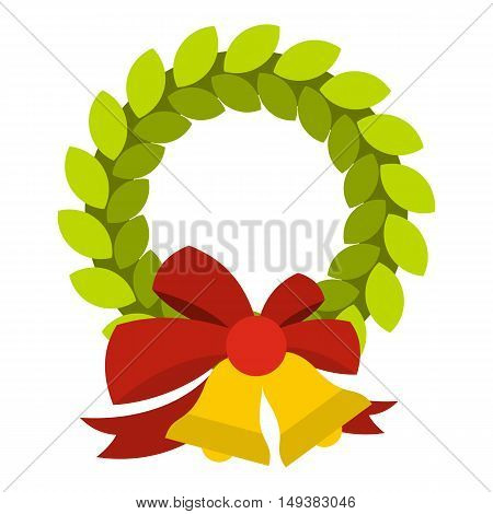 Christmas wreath with bell icon in flat style isolated on white background. Decoration symbol vector illustration
