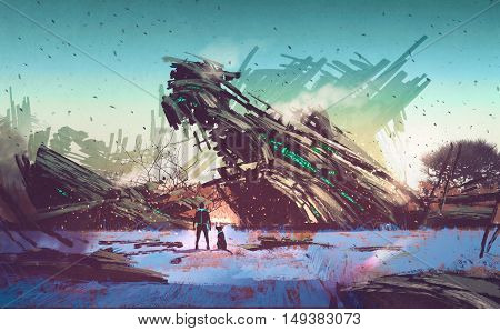 spaceship crashed on blue field, illustration painting