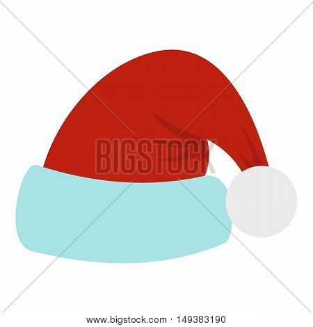 Santa Claus hat icon in flat style isolated on white background. Headwear symbol vector illustration