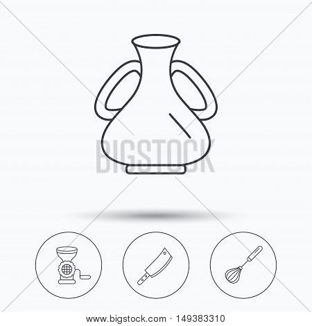 Meat grinder, butcher knife and whisk icons. Vase linear sign. Linear icons in circle buttons. Flat web symbols. Vector