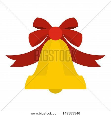 Bell with red bow icon in flat style isolated on white background. Ring symbol vector illustration