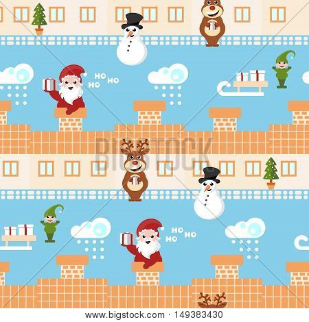 santa claus, reindeer and elf delivering christmas presents repeating pattern