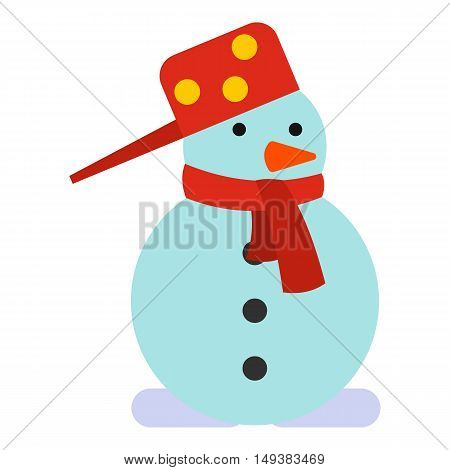 Snowman icon in flat style isolated on white background. New year symbol vector illustration