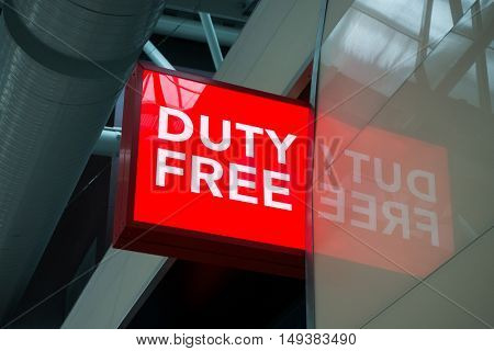 Moscow, Russia - September 19, 2016: Duty free shop sign in Vnukovo airport at evening