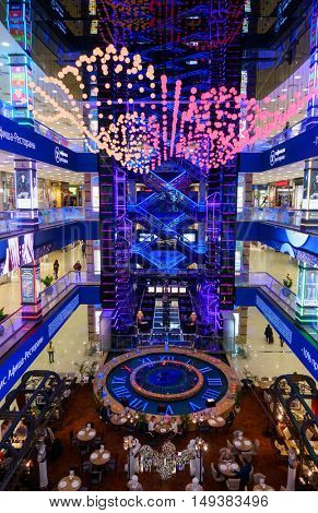 Moscow, Russia - September 19: Interior of luxury Evropejskij mall in the city centre
