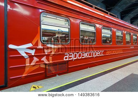 Moscow, Russia - September 19, 2016: Aeroexpress logo on the train at Vnukovo station