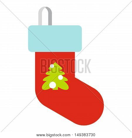 Christmas sock icon in flat style isolated on white background. New year symbol vector illustration