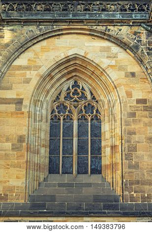 Details of window St. Vitus Cathedral in Prague Czech republic.