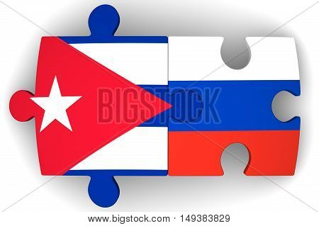 Cooperation between the Russian Federation and Cuba. Puzzles with flags of the Russian Federation and Ukraine on a white surface. The concept of coincidence of interests in geopolitics. Isolated. 3D Illustration