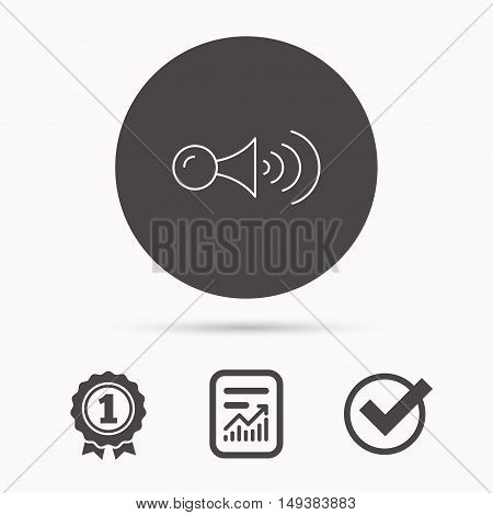 Klaxon signal icon. Car horn sign. Report document, winner award and tick. Round circle button with icon. Vector