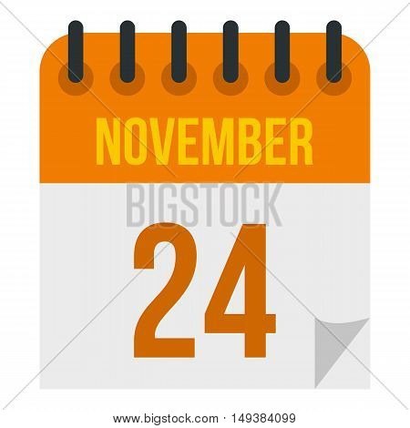 Calendar november twenty fourth icon in flat style isolated on white background. Date symbol vector illustration