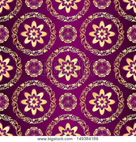 Floral purple seamless pattern with vintage flowers and gold lacy rings vector