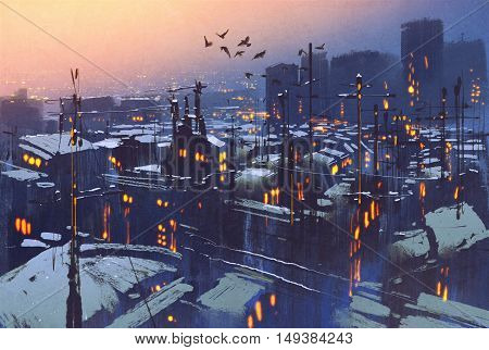 painting of city snowy winter scene, rooftops covered with snow at sunset