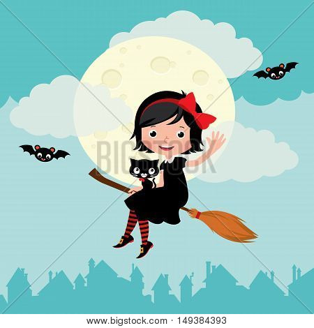 Little witch flying on a broom on the moon background Stock cartoon vector illustration