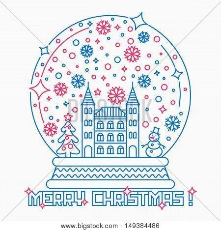 Christmas snow globe thin line style vector illustration.